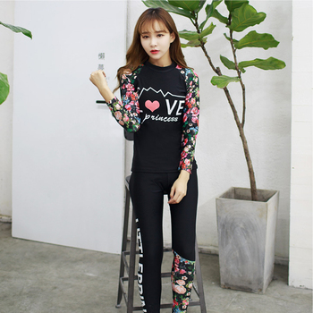 2017 Dive Skin Long Sleeve Rash Guard Women's Floral Swimsuit Girls Beach Sun-Protection Sports Swim Suits Swimwear