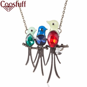2017 New Vintage woman jewelry statement necklaces & pendants Chokers colorful birds pendant Long necklace women gift collares