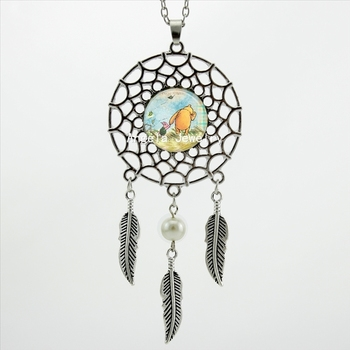 2017 Trendy Stil Wings Şekilli Poh ve Pigle Kolye winnie P Takı Gümüş Dream Catcher Kolye DC-00297
