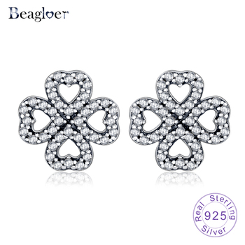 Beagloer 925 Sterling Silver Timeless Elegance Earrings with Clear CZ Earrings Female Brincos Fine Jewelry Bijoux PSER0046-B