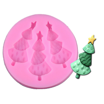 Pop 3-Hole Diy Christmas Trees Cake Molds Fondant Chocolate Silicone Mold Candy Moulds Cake Tools