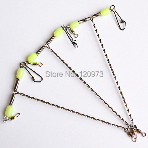 10pcs / lot Stainless Steel Wire Fishing Balance With Luminous Bead Fishing Accessories Sparepart Wire Scale